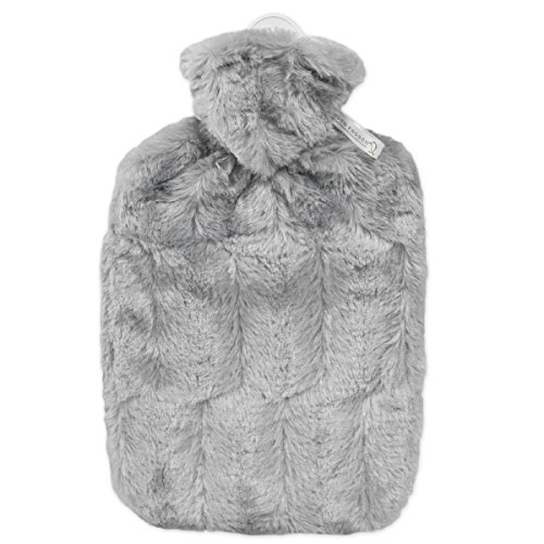 Hugo Frosch Unisex Classic Faux Fur Cover and Inner Lining Hot Water Bottle, Grey, One Size