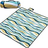 Extra-Large Picnic Blanket Outdoor Waterproof Camping Mat, Cute Beach Blankets Padded and Oversized (79 Inch x 79 Inch) Lawn Blanket, Foldable and Portable Picnic Accessories by Magimate