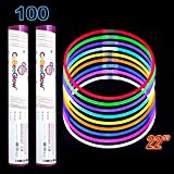 CoBeeGlow Glow Stick Necklaces - Glow Necklaces Bulk 22 inch - Extra Bright Glow in The Dark Necklaces - Strong and Durable - 9 Vibrant Neon Colors - Stuffers for Kids - 100 Mix