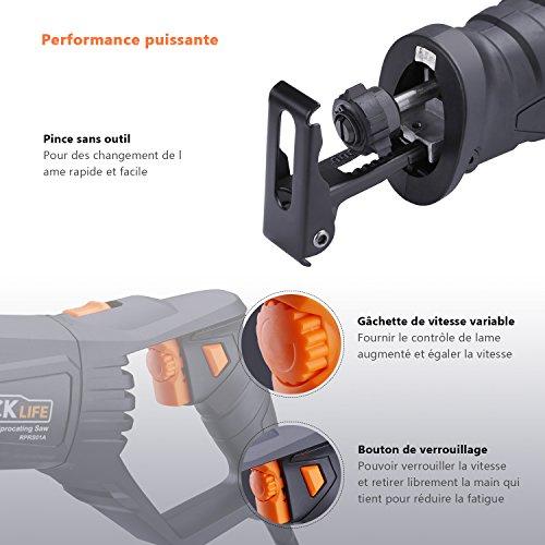 Scie Sabre 850W 0~2800 rpm avec Coffret/ Poignées Orientables/ Tacklife RPRS01A Scie Égoïne Universelle LED/ 2 Lames (Bois 6T HCS, Métal 14T BIM)/ Profondeur de Coupe: Bois 180 mm, Métal 10 mm