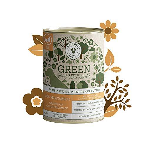 Green Nassfutter für Hunde | vegetarisch | Hüttenkäse, Zucchini, Quinoa und Spinat | 6x400g