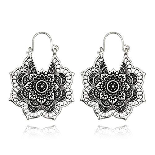 N/A Vintage Mandala Blume Anhänger Ohrringe für Frauen Mädchen Tribal Hollow Flower Anhänger Ohrringe Anhänger Silber