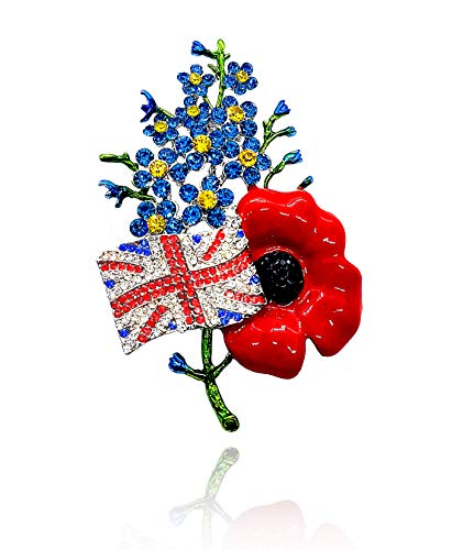 Klaritta Red with Blue Rhinestones Poppy Flower UK Flag Sunday Remembrance Day Symbolic Brooch Pin BR301-R