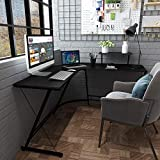 """CozyCasa 50.6"""" Computer Desk L Shaped Gaming Desk Corner Table Study Writing Desk Simple Home Office PC Desk Workstation for Small Spaces, Bedrooms, with 1 Adjustable Shelf, Metal Legs"""