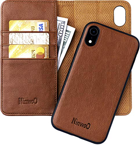 iPhone XR Leather Wallet Case - Detachable Magnetic Shock-Proof TPU Mobile Cell Phone Case - Best 2-in-1 Folio Flip Cover Credit and ID Cards Slots for Apple iPhone XR 6.1 Inch by NinwoO – Brown