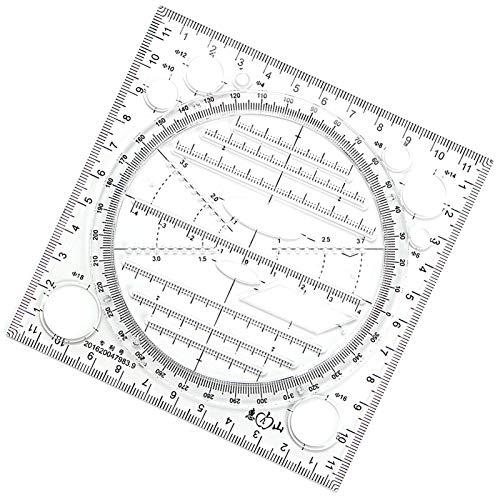 Schablonen Kreisschablone, Geometrische Zeichnungen Kunststoff Mess Lineal Gebäude Schalung Schablonen Für Architekten, Ingenieure, Architekturstudium Dreikant Verschiedene Maßstäbe (Schwarz)