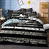 ayigu Bettbezug-Set mit USA-Flagge im Alter von Schwarz & Grau, extra weiche Dekoration, 3-teiliges Set mit 2 Kissenbezügen