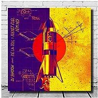 DJシャドウ&デラソウルロケット燃料アルバムカバーウォールアートキャンバス絵画写真ポスターとプリントユニークなアートワーク廊下の装飾-28x28INフレームなし