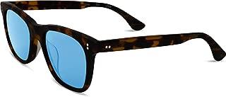 Toms Fitzpatrick 10010586 Unisex Shiny Dark Tortoise Frame Indigo Blue Lens Oval Sunglasses