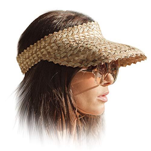 Sun Visor Hat for Women, Straw Beach Sun Hats, Wide Brim, Outdoor Camping Hiking