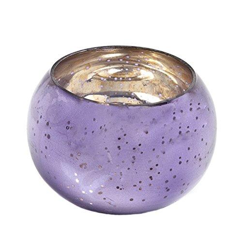 Insideretail-Portacandela tealight Rotondo, in Vetro, Colore: Viola, 6 x 6 cm, Confezione da 24