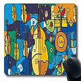 Luancrop Alfombrillas de ratón Acordeón Doble Violines Tambor bajo Orquesta Trompeta Pintura gráfica Guitarra Diseño Moderno Estilo Antideslizante Gaming Mouse Pad Alfombrilla de Goma Oblonga