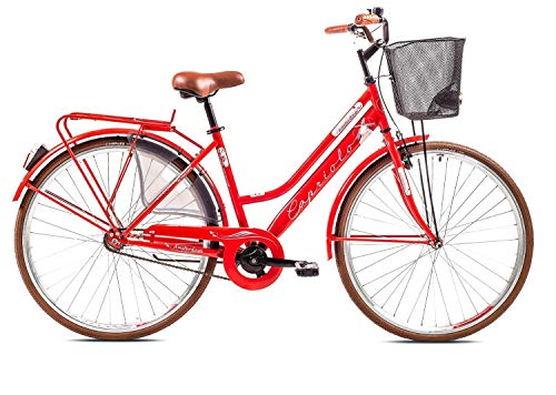breluxx® 28 Zoll Damenfahrrad Amsterdam, Nexus 3 Gang Nabenschaltung, Rücktrittbremse, Citybike mit Korb + Beleuchtung, Retro Bike, rot - Modell 2020