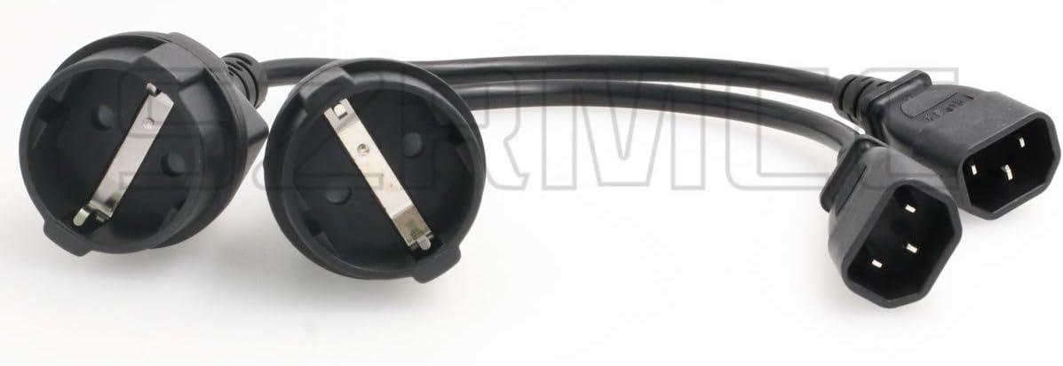 SZRMCC UPS PDU Power Cord IEC 320 C14 Plug Adapter to Convert Europe CEE7/7 Schuko Socket,IEC320 C14 Male to Europe Female Socket Short Adapter Cable (2pcs)