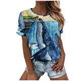 Dosoop Womens Summer Graphic Tops Casual Crewneck Short Sleeve Shirts for Women,Ocean Whale Printed T Shirts Tees Blouse