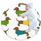 Alfombra de área Redonda Alfombra Dach Shund Perros Alfombrilla Antideslizante de 39,4 Pulgadas de diámetro para Sala de Estar, Dormitorio