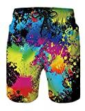 Adult Swim Trunks 90S Funny Patterned Board Shorts Summer Cool Colorful Paints Tie-Dye Vintage Knee Length Physique Long Bathing Shorts Junior Half Pants for Men Guy Boy Toddler Youth