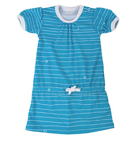 iobio meisje zomerjurk blauw ecologisch katoen maat 74/80