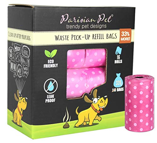 Parisian Pet Dog Poop Bags for Dogs – Refills Rolls of Doggie Bags for Poop – Unscented Dog Poop Bag – Eco-Friendly Pickup Pet Waste Bags, 16 Rolls, Pink Polka Dot