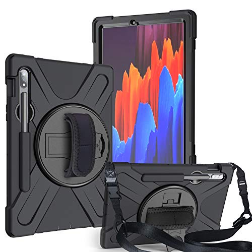 IVY 360 Degrees KickBracelete Caso Capa para Samsung Galaxy Tab S7 11 2020 (SM-T870/T875) Bracelete Caso with Faixa Wrist,Distância do ombro and Pencil Holder - Black