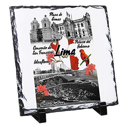 Teesquare1st Peru Lima - Rock Slate Photo Gift, Foto en Piedra Pizarar Rock Photos Imagen Cuadro Cuadrado