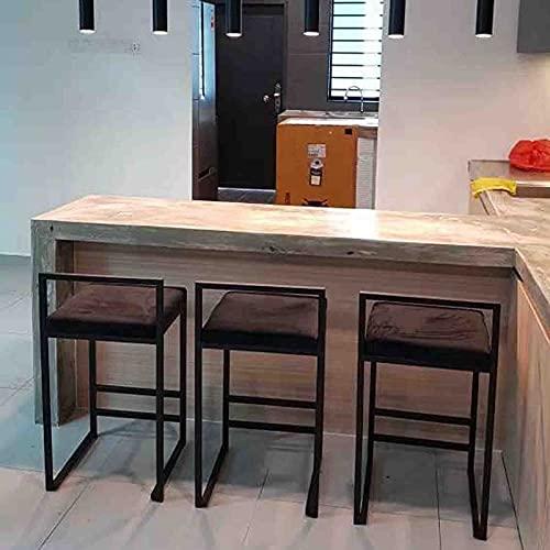 MYAOU Taburetes de Bar de Cocina con Marco de Metal, Tela de Terciopelo, sillas Acolchadas Suaves, taburetes Altos, adecuados para mesas de desayunador, 65 cm