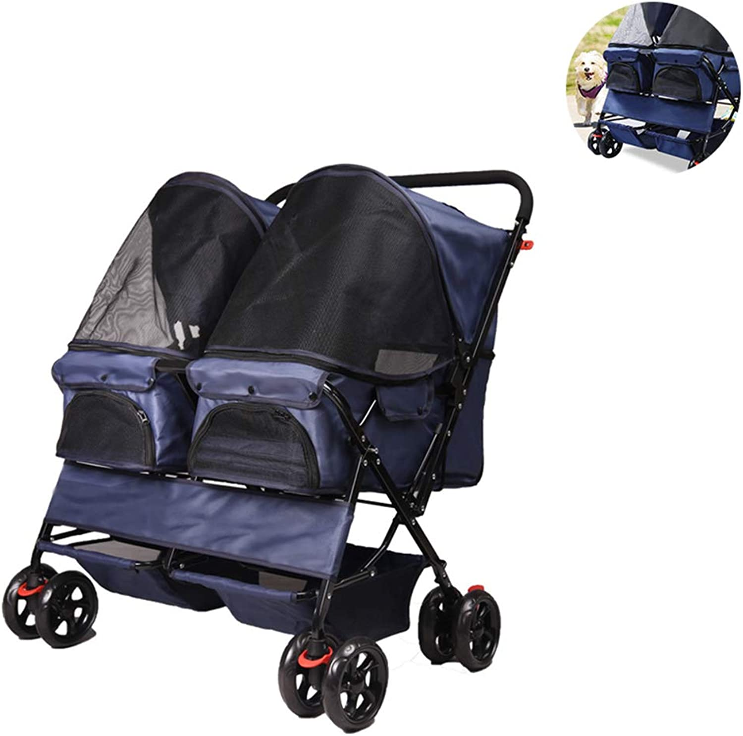 PETSUPPLY Pet Travel Stroller Cat Dog Pushchair Trolley Puppy Jogger Carrier Four Wheels,Foldable,Suitable For Puppies, Cats,A