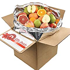 "DELICIOUS FRUIT: Our fruit basket includes 32 pieces of fresh fruit. It comes with 6 pears, 8 apples, 10 oranges, and 8 grapefruit, so there's something for everyone to enjoy. DECORATIVE PACKAGE: This gift basket comes in a brown box with a ""Gifts In..."