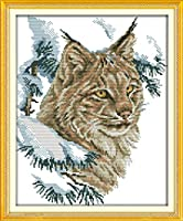 クロスステッチ刺繍キット 図柄印刷 初心者 ホームの装飾 刺繍糸 針 布 11CT Cross Stitch ホームの装飾 ワイルドキャット 40x50cm