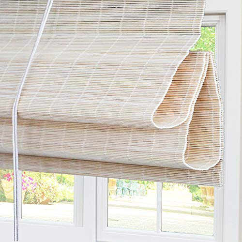 Bamboo Roman Window Shades Blinds, 60W x 36H Inches, Light Filtering UV Protection Roll Up Roller Shades with Valance for Windows, Kitchen, Doors, Porch, Color 5