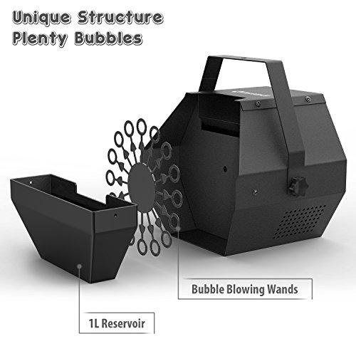 Fansteck 1L 25W Máquina de Burbujas portátil, Alto Rendimiento Fabricante de pompas, Mecanismo de soplador automático y Motor silencioso, Máquina de Efectos para Fiestas o escenarios - Negro