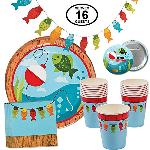 Fisherman Fishing Party Supplies Little Fisherman Table Party Pack Bundle for 16 Includes Dinner Plates, Cups, Napkins and Banner