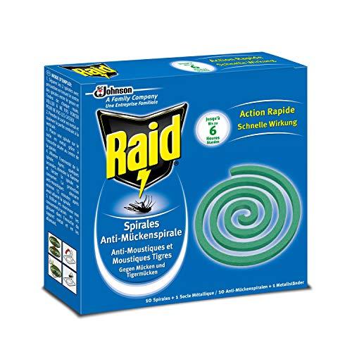 Raid Spirales Anti-Moustiques, 10 Spirales, 1 Socle Métallique, Usage Extérieur, Diffusion 6h, Insecticide