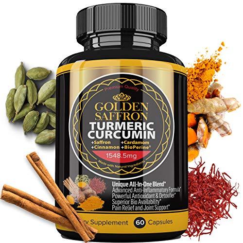 Golden Saffron - Turmeric Curcumin with Bioperine, Saffron, Cinnamon, Cardamon. Highest Potency Non-GMO, Gluten Free.Maximum Effectiveness, Bio Availability, Boost Absorption