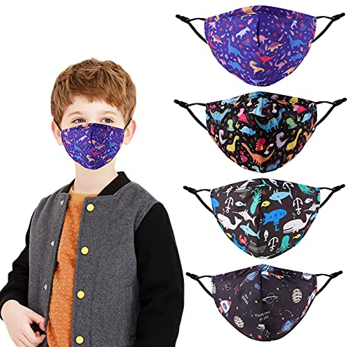 Kids Boy Face Masks Reusable Adjustable Fabric Cloth Cover , 4 Pack Cartoon Designer Fashion Protection Cotton Mask with Ear Loops, Gifts for Children, Washable Mascarilla Headwear for Outdoor