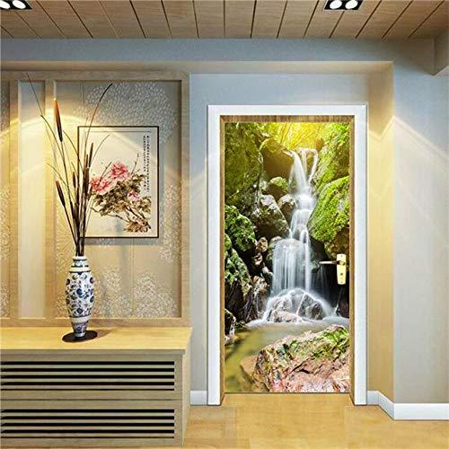 Lianlili Pegatinas de la Puerta de Las escaleras del Rock Auto Adhesivo Forest Iron Tower Doors Fondos de Pantalla Gratis para Sala de Estar Dormitorio Renovar Azulejos de cerámica Vinilo Mural