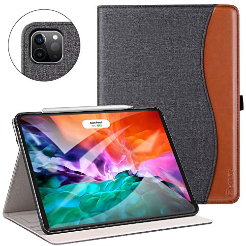 Ztotop Funda para iPad Pro 12.9 pulgadas 2020 (4ª generación), Funda de piel de primera calidad, con soporte , soporte de carga inalámbrica iPad Pencil y encendido y apagado automático, Denim Negro