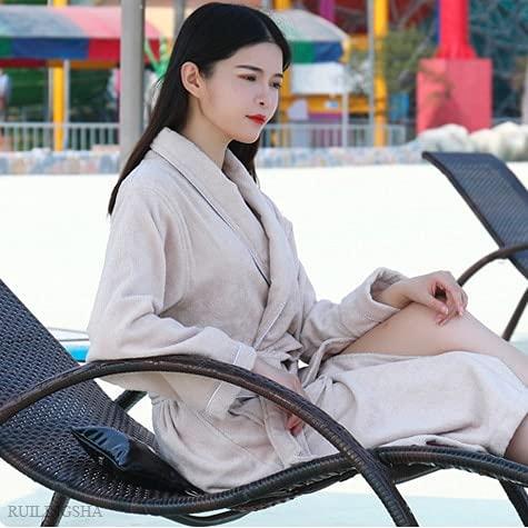 Hombres Mujeres Albornoz de Felpa de algodón Amantes Toalla sólida Ropa de Dormir Bata de baño Larga Kimono Bata de Mujer Batas de Dama de Honor-Coffee-1-L