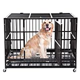 walnest Large Dog Kennels Indestructible Metal Heavy Duty Dog Crate 48 Rolling Cage Kennel Pet Exercise Playpen on Wheels w/Tray Double Door Black