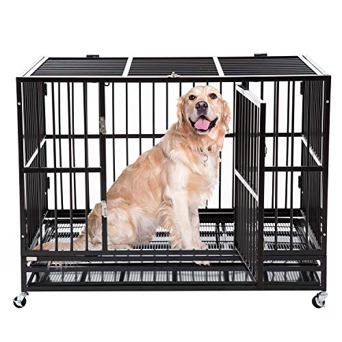 pet crate with wheels walnest Large Dog Kennels Indestructible Metal Heavy Duty Dog Crate 48 Rolling Cage Kennel Pet Exercise Playpen on Wheels w/Tray Double Door Black