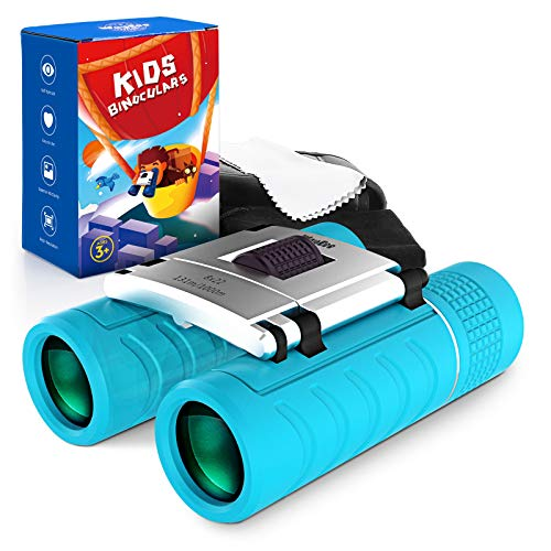 Binoculars for Kids Boys Toys - Best Gifts for 3-12 Years Child 8x22 High-Resolution Real Optics Kids Telescopes Small Folding Compact Binocular Toys for Bird Watching, Travel, Camping (Blue)