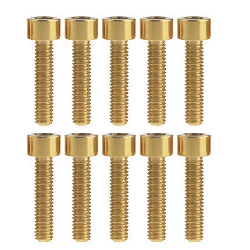 Yaruijia Titan-Bolzen, M6 x 25 mm, Vierkantkopf, Inbusschrauben, 10 Stück (Gold)