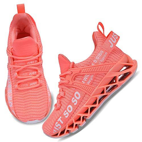 UMmaid Kinder Schuhe Laufschuhe Mädchen Jungen Sportschuhe Atmungsaktiv Leicht Turnschuhe Klettverschluss Outdoor Fitnessschuhe Sneakers für Schule Indoor Outdoor,B Orange Pink,32