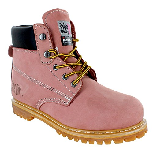 Safety Girl GS005-LTPink-7M Safety Girl II Insulated Work Boot - Steel Toe 7M, English, Capacity, Volume, Leather, 7M, Pink ()