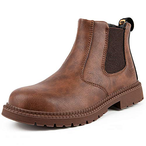 [マンディー] 安全靴 防水 ハイカット あんぜん靴 作業靴 ブーツ 鋼先芯 おしゃれ 耐滑 セーフティシューズ 軽量 衝撃吸収 チェルシー ブーツ 815/ブラウン/46