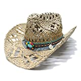MUMUWU Western Hat for Women Men Wide Brim Straw Vintage Sun Beach Cowboy Cowgirl Sun Hat Turquoise Braid Band (Color : 1, Size : 56-58CM)