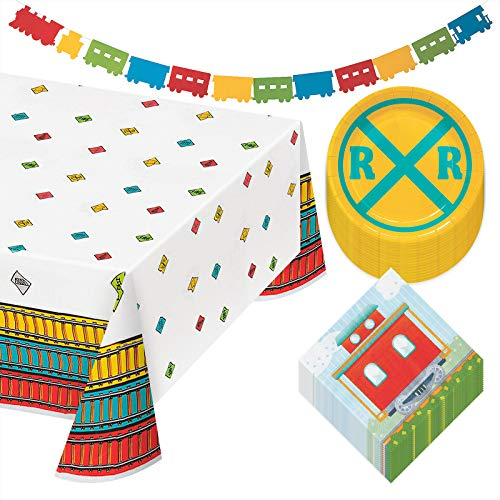 Train Party Pack - Railroad Paper Dessert Plates, Caboose Napkins, Train Tracks Table Cover, and Hanging Garland (Serves 16)