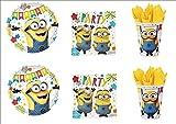 Lote de Cubiertos Infantiles Disney'Minions' (8 Vasos, 8 Platos y 20 Servilletas) .Vajillas y Complementos. Juguetes para Fiestas de Cumpleaños, Bodas, Bautizos y Comuniones.