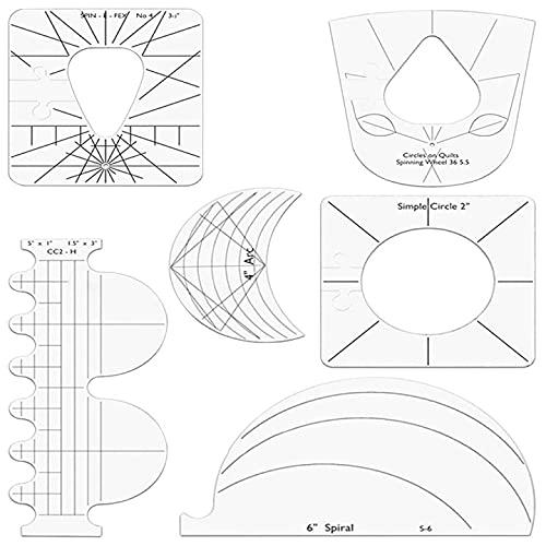 6 Stück Quilten Patchwork Lineal, Quilting Template, Quilten Lineal Acryl, Transparentes Acryl Quilt-Lineal, Patchwork Lineal Nähen für Nähmaschine, Nähen von Kunsthandwerk, DIY Stickerei
