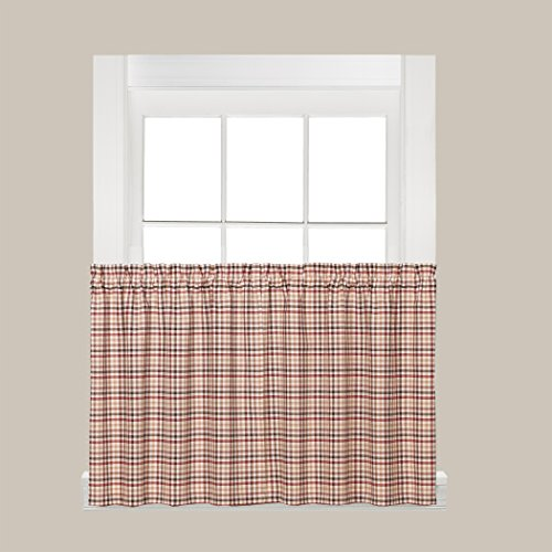 SKL Home Dexter Tier Curtain Pair, Rojo, 57 Inches x 36 Inches